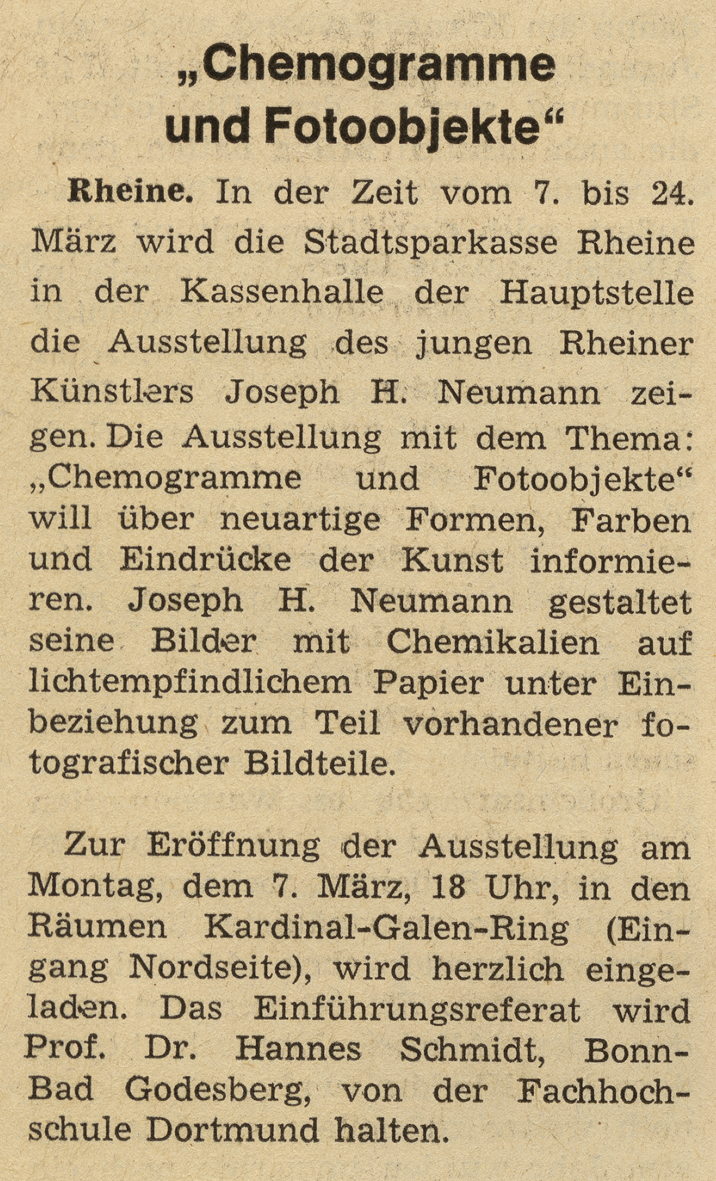 Münstersche Zeitung 2nd March, 1977, Exihibition in the central office of the Sparkasse Rheine