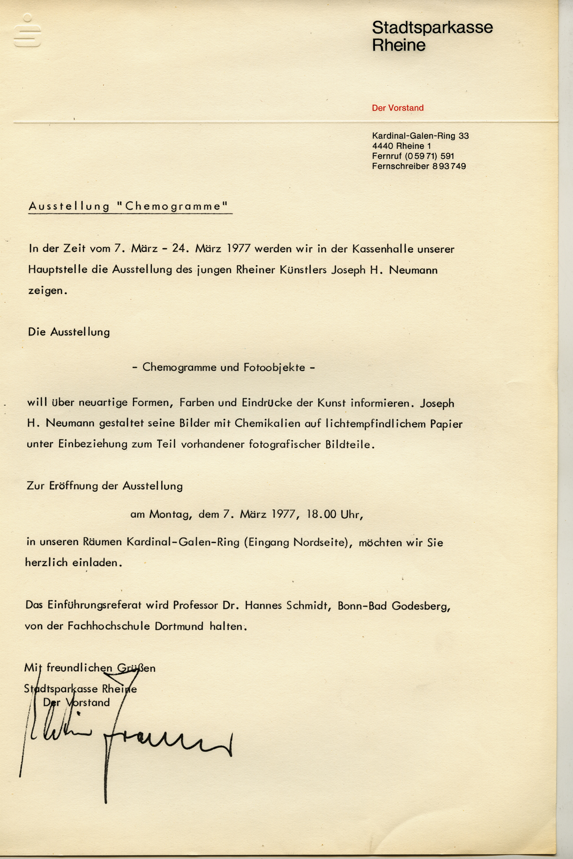 Invitation of the Management of the Sparkasse Rheine 1976 on the occasion of the Exhibition CHEMOGRAMME u. FOTO OBJEKTE v. Josef H. Neumann